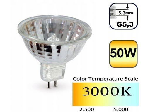 Żarówka halogen 50w g5,3 gx5,3 mr16 230v 3000k +