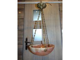 Secesja,alabastrowy,mosiężny żyrandol.lampa