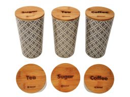 Pojemniki na cukier kawe herbate bambus szczelne