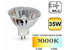 Żarówka halogen 35w g5,3 gx5,3 mr16 230v 3000k +