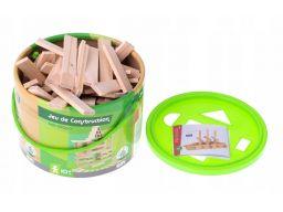 Klocki drewniane dla dzieci w wiaderku 100el