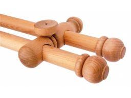 Solidny karnisz drewniany podwójny karnisze zestaw
