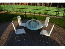 Niemiecki szklany stół +4 krzeseła skóra naturalna